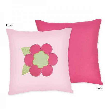 Flower Pink And Green Accent Pillow