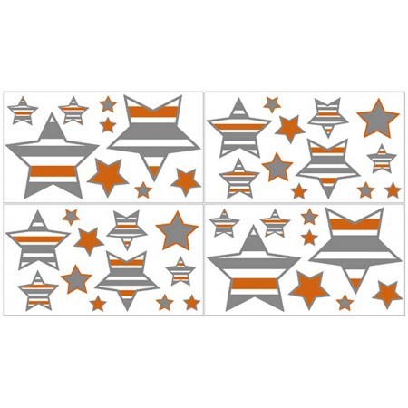 Gray & Orange Stripe Wall Decals