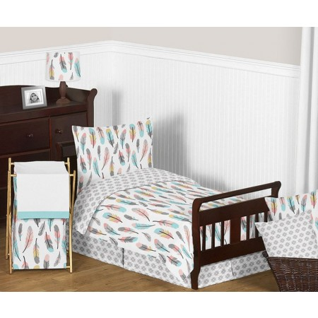 Feather Turquoise & Coral Toddler Bedding Set By Sweet Jojo Designs