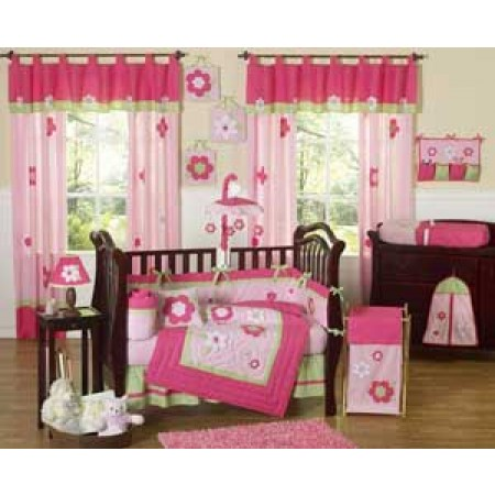Flower Pink And Green Crib Bedding Set by Sweet Jojo Designs - 9 piece