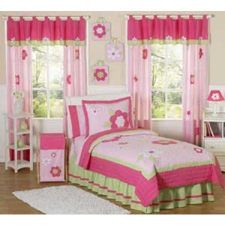 Flower Pink And Green Comforter Set - 3 Piece Full/Queen Size By Sweet Jojo Designs