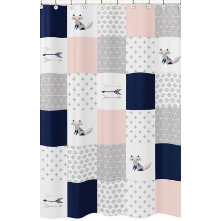 Fox Patch Pink & Navy Shower Curtain