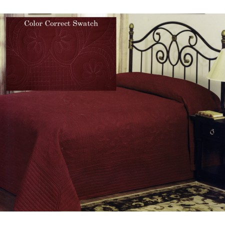 French Tile Queen Bedspread Deep Red
