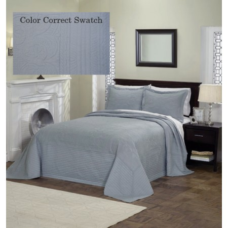 French Tile Twin Bedspread Dusty Blue