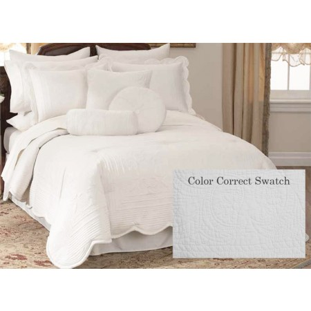 French Tile King Quilt White