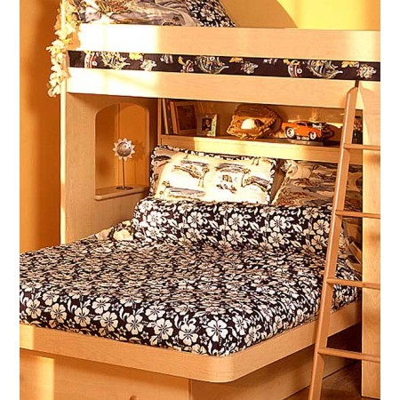 Navy Blue Hibiscus Print Bunkbed Hugger Comforter - Twin Size by California Kids (Clearance)