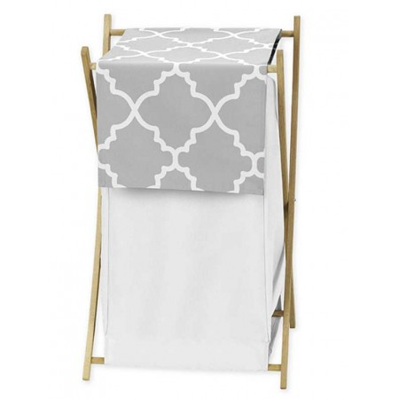 Gray & White Trellis Hamper