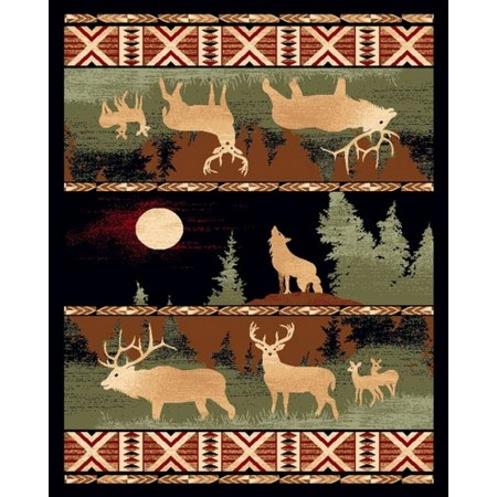 LODGE-382 Deer at Night Area Rug - Lodge Collection