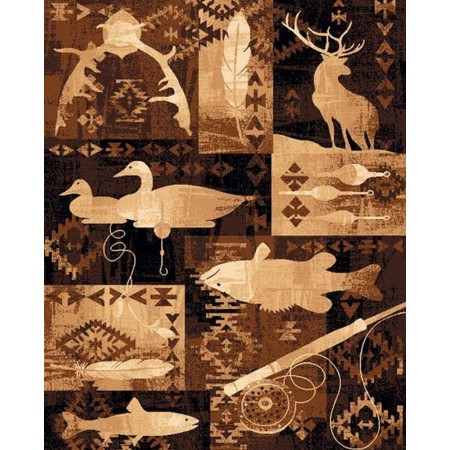 LODGE-383 Fishing & Hunting Area Rug - Lodge Collection