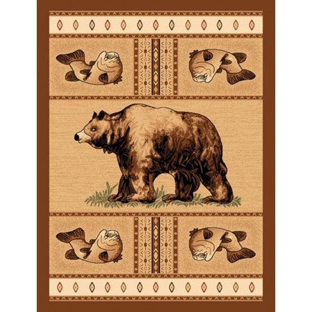 LODGE-360 Bear & Trout Area Rug - Lodge Collection
