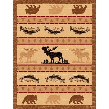 LODGE-361 Moose, Trout & Bear Area Rug - Lodge Collection