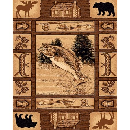 LODGE-363 Trout Fishing Area Rug - Lodge Collection