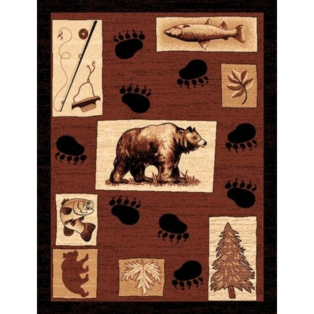 LODGE-366 Bear Prints Area Rug - Lodge Collection