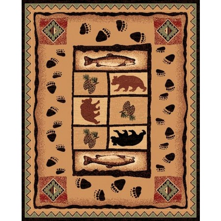 LODGE-368 Southwest Bear Paws Area Rug - Lodge Collection