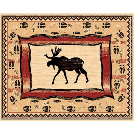 LODGE-369 Moose Silhouette Area Rug - Lodge Collection