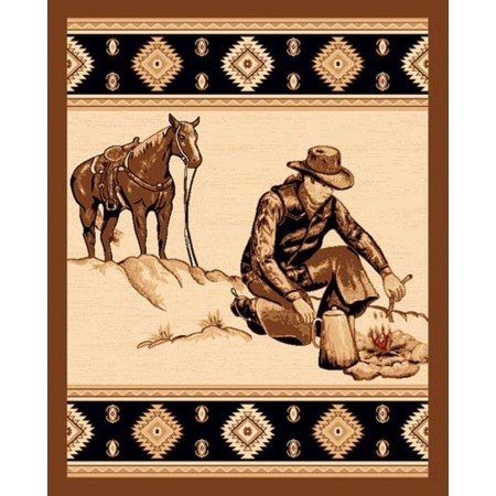LODGE-371 Cowboy Campfire Area Rug - Lodge Collection