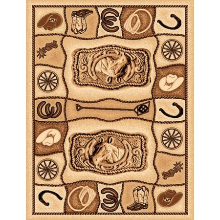 LODGE-374 Horse Buckle Area Rug - Lodge Collection