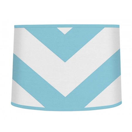 Turquoise & White Chevron Print Large Lamp Shade