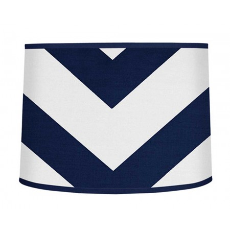 Navy & White Chevron Print Large Lamp Shade
