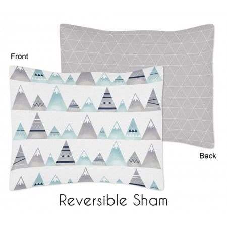 Mountains Grey & Aqua Pillow Sham