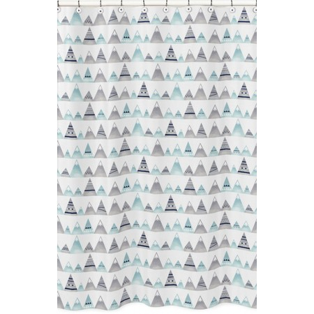 Mountains Grey & Aqua Shower Curtain