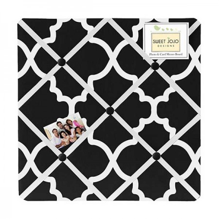 Black & White Trellis Fabric Memo Board