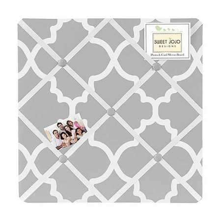 Gray & White Trellis Fabric Memo Board