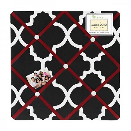 Red & Black Trellis Fabric Memo Board