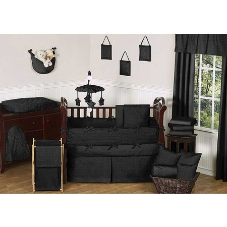 Minky Dot Black Crib Bedding Set by Sweet Jojo Designs - 9 piece