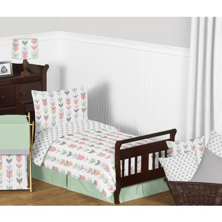 Mod Arrow Gray, Coral & Mint Toddler Bedding Set By Sweet Jojo Designs