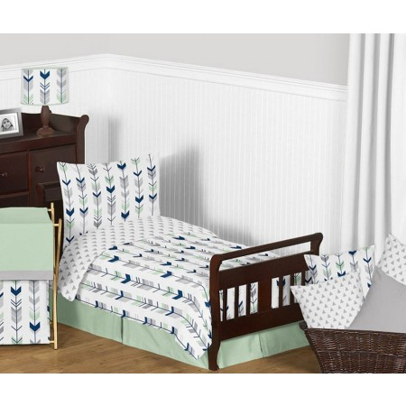 Mod Arrow Gray, Navy & Mint Toddler Bedding Set By Sweet Jojo Designs