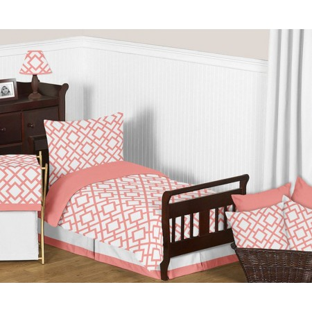 Mod Diamond White & Coral Toddler Bedding Set By Sweet Jojo Designs