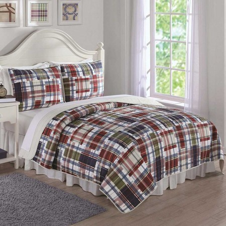 Navy Khaki Preppy Plaid Twin Quilt and Sham