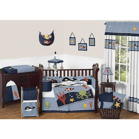 Ocean Blue Crib Bedding Set by Sweet Jojo Designs - 9 piece