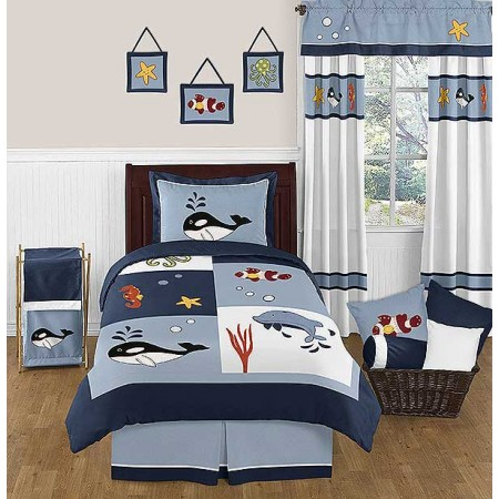 Ocean Blue Bedding Set - 4 Piece Twin Size By Sweet Jojo Designs
