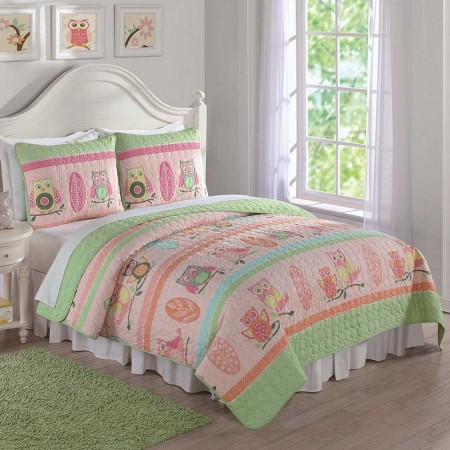 Owl Stripe Twin Quilt and Sham