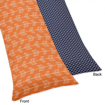 Arrow Orange & Navy Body Pillow Cover