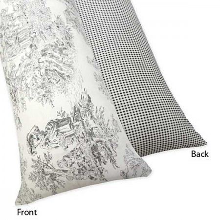 Black Toile Body Pillow Cover