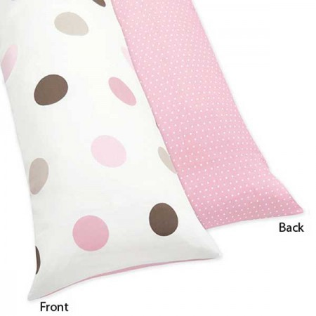 Pink and Brown Mod Dots Body Pillow Cover