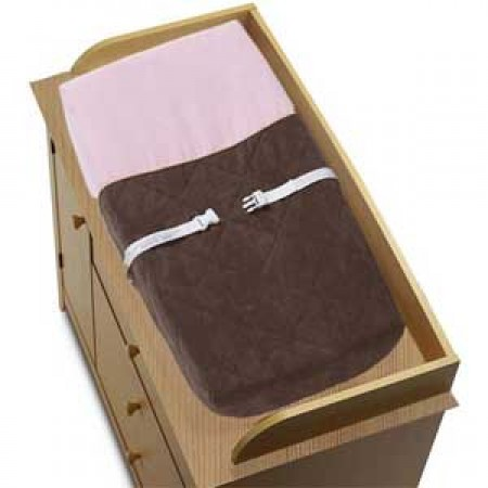 Soho Pink and Brown Changing Pad Cover