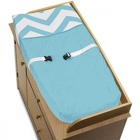 Turquoise & White Chevron Print Changing Pad Cover
