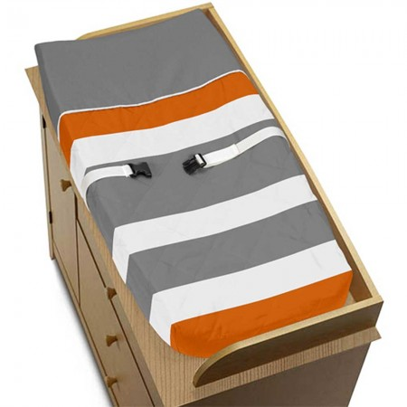 Gray & Orange Stripe Changing Pad Cover