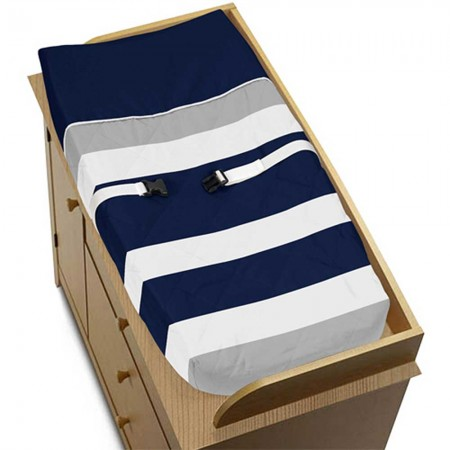Navy & Gray Stripe Changing Pad Cover