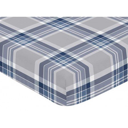 Plaid Navy Blue and Gray Crib Sheet