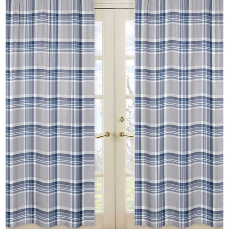 Plaid Navy Blue and Gray  Window Panels