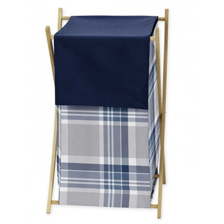Plaid Navy Blue and Gray Hamper
