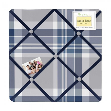 Plaid Navy Blue and Gray Fabric Memo Board