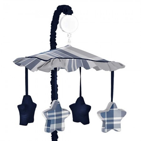 Plaid Navy Blue and Gray Mobile