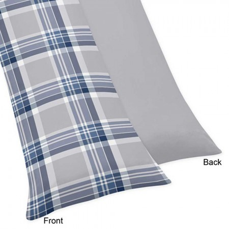 Plaid Navy Blue and Gray Body Pillow Cover
