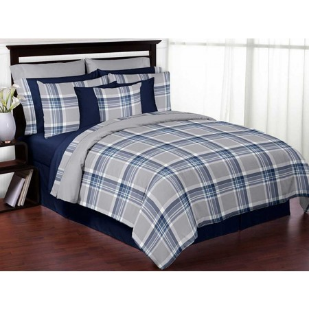 Plaid Navy Blue and Gray Comforter Set - 3 Piece Full/Queen Size By Sweet Jojo Designs